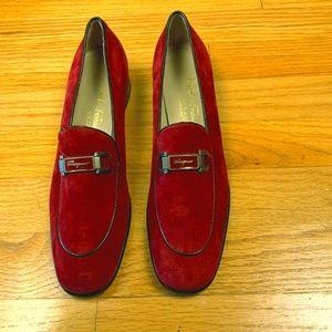 Salvatore Ferragamo Sport Loafers Red Suede 7 / 4A